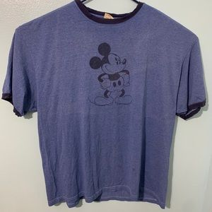 MICKEY MOUSE Vintage Ringer T-Shirt XL Blue